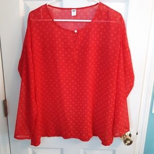Old Navy Red Sheer Top